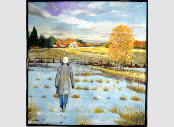 Snowy Field with Woman walking toward a studio building Painting by Fine Artist Robert W. Moore