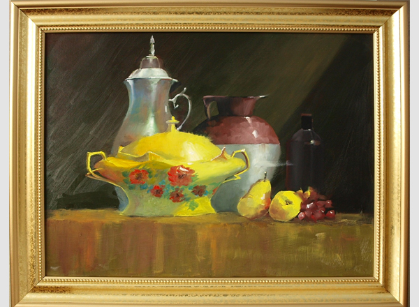Still Life With Pears Oil Painting by Fine Artist Robert W. Moore