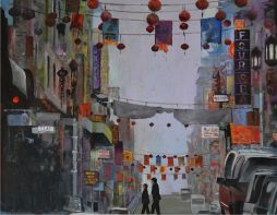 City Street, Chinatown, San Francisco 21x17.5  Oil on Board  Framed