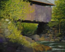 Covered Bridge 12x10  Oil on Board