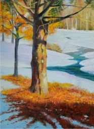Fall Leaves  21x27  Oil on Board