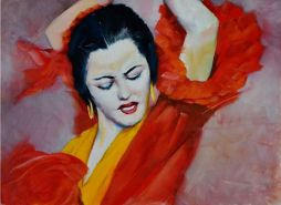 Flamenco  19x15  Oil on Board