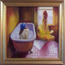 Flatmates  17x16 Oil on Board  Framed