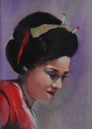 Geisha  6.5 x 8.5  Oil on Board Framed
