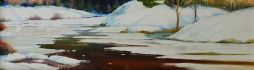 SOLD Ice  21 x 6.5  Oil on Board