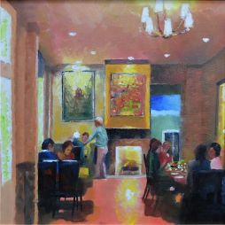 Intimate Restaurant  14x14  Oil on Board