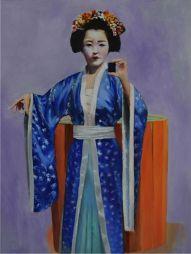 Kimono (selfie)  21x27  Oil on Board