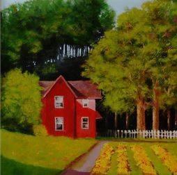 Little Red House 15x15  Oil on Board