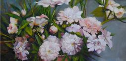 Peonies II in Peach-Colored Pot  48x24  Oil on Canvas  Framed
