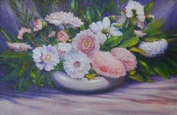 Peonies I Oil on Canvas 48x24  Framed