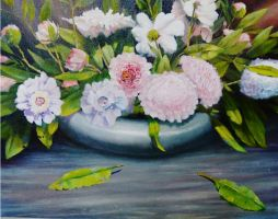 SOLD Mixed Peonies   30 x 24   Oil on Canvas  Framed