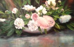 SOLD Peonies on Buffet 36 x 24  Oil on Canvas
