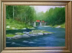 Railroad Bridge  19x15  Oil on Board