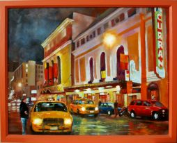 San Francisco Theater Cabs  22 x 17.5  Oil on Board
