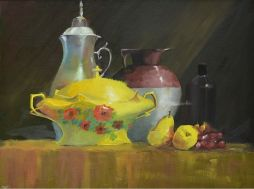 SOLD Still Life with Pears  15x19  Oil on Board