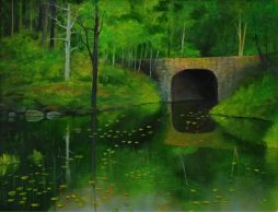 Stone Bridge With Moss  Oil on Board   21x17