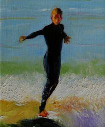 sold Surfer  8.5 x 10  Oil on Board