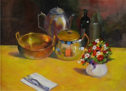 Table In the Reception  Oil on Board 19x15