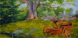 Tractor in the Berkshires  48 x 24.5  Oil On Canvas