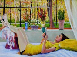 Woman in Repose  35 x 27.5  Oil on Board